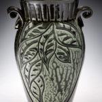 "Small Black & Teal Leaf Vase, 7 1⁄2""H x 5""W"