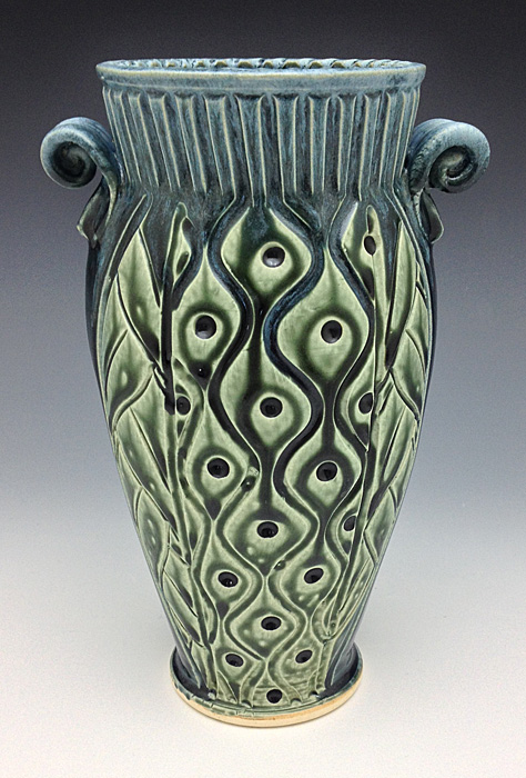 Small vase with dots leaves teal gallery for Dot wall vase